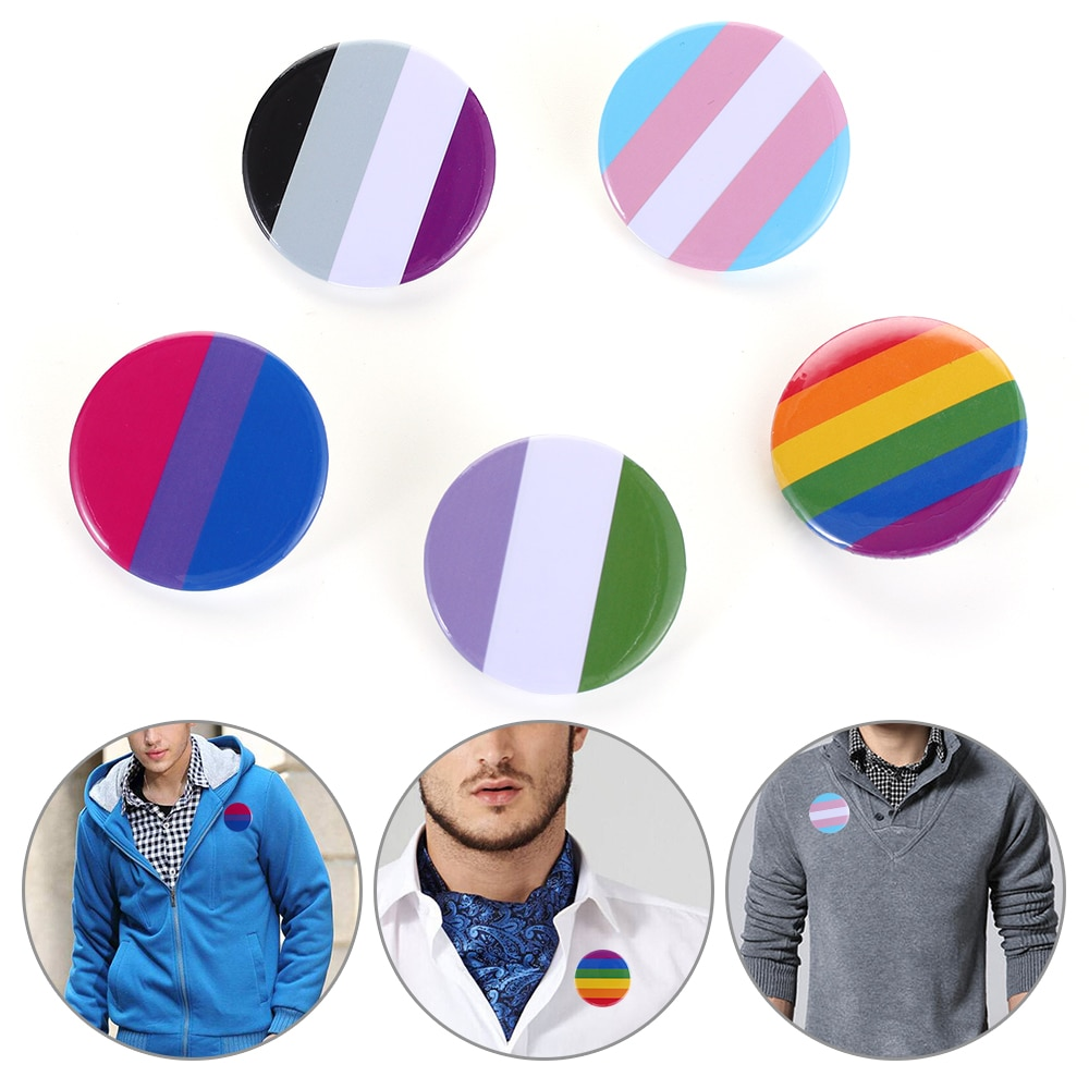 Pride Rainbow Gay Pins Flag Tinplate Badge Support Gay Lesbian Bisexual Transgender Symbol Pin Icons Brooch Jewelry Accessories