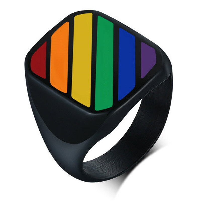 LETAPI 2021 New Fashion Big Black Square Gay Jewelry Stainless Steel Rainbow LGBT Pride Wedding Rings for Men